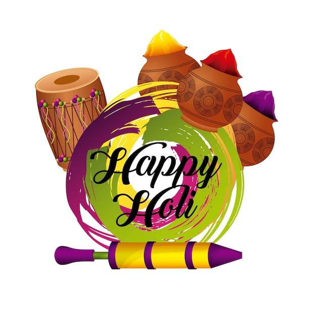 Scheda di celebrazione di colore festival holi felice