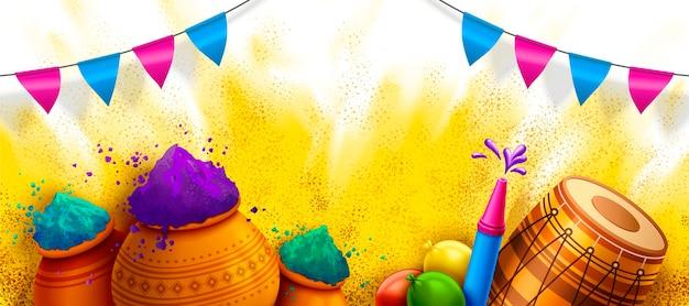 Modello di festival di holi felice con elementi colorati in polvere, dhol e pichkari