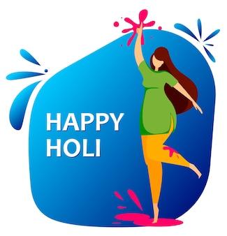 Donna felice di holi che celebra il festival indiano tradizionale dei colori