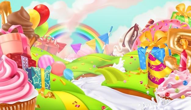 Buone vacanze. cupcake, confezione regalo. sfondo paesaggio dolce