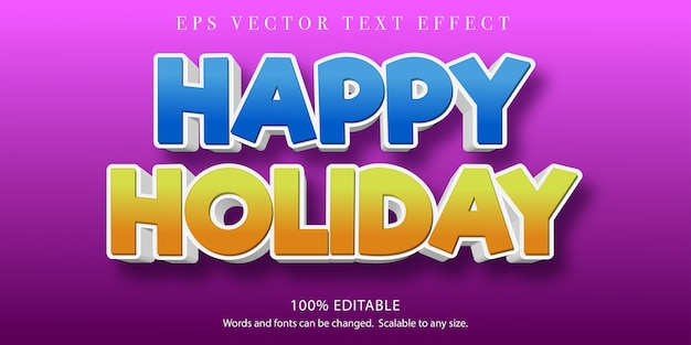 Illustrazione di testo felice vacanza in design piatto