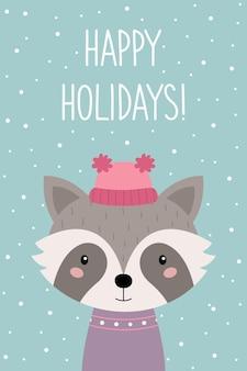 Buone vacanze una cartolina di natale procione simpatico cartone animato in un cappello