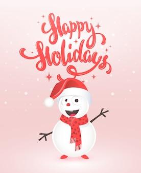 Auguri di buone feste con pupazzo di neve