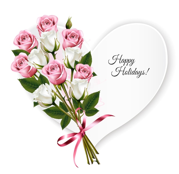 Cartolina d'auguri a forma di cuore di buone feste con un mazzo di rose. vettore.