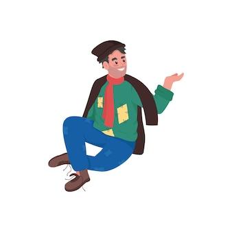 Felice senzatetto uomo colore piatto personaggio dettagliato fumetto illustrazione