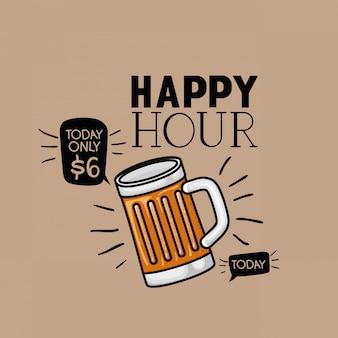 Etichetta di birre happy hour con barattolo