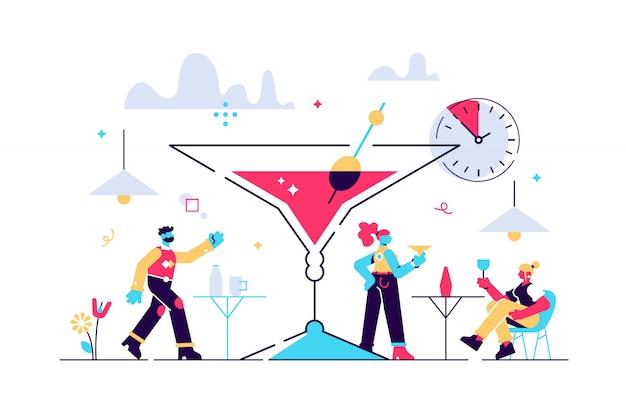 Illustrazione di happy hour. piccolo concetto di persone tempo alcool economici.