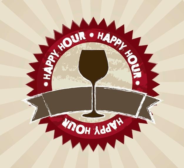 Etichette happy hour su sfondo marrone illustrazione vettoriale