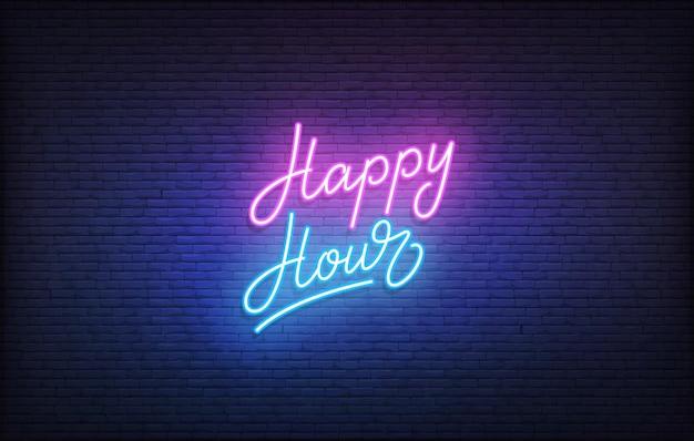 Insegna al neon happy hour. modello di happy hour con scritte al neon incandescente.