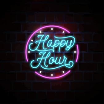 Happy hour illustrazione insegna al neon