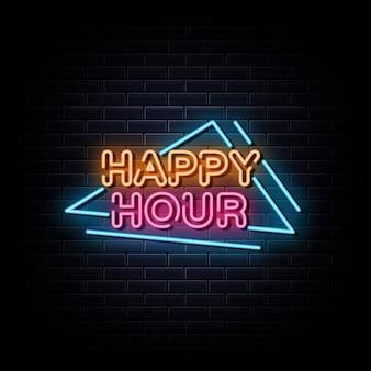 Simbolo al neon dell'insegna al neon dell'happy hour