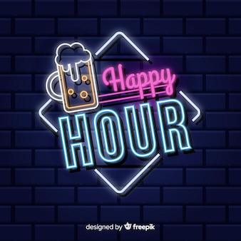 Insegna al neon happy hour