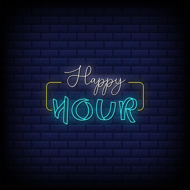 Happy hour insegne al neon stile design del testo su sfondo astratto mattoni blu
