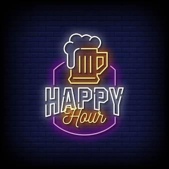 Happy hour insegne al neon stile testo vettoriale