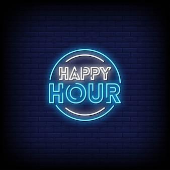 Testo di stile delle insegne al neon di happy hour