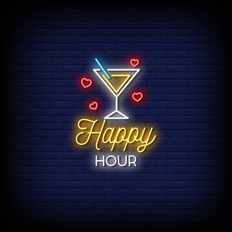 Happy hour insegne al neon in stile testo