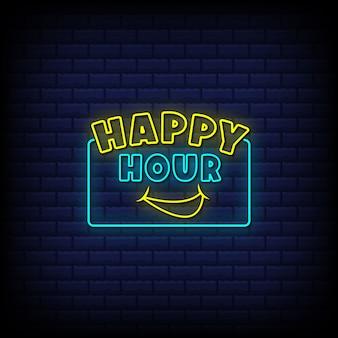 Happy hour insegne al neon in stile testo