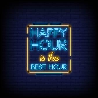 Insegne al neon di happy hour in stile testo