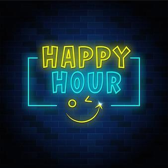 Segno di testo al neon happy hour