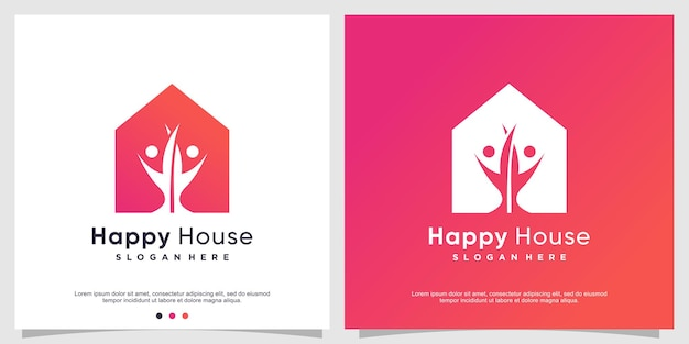 Modello di logo della casa felice per la famiglia felice vettore premium