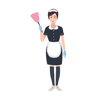 Felice cameriera, cameriera, addetto alle pulizie o addetto alle pulizie che indossa l'uniforme. personaggio dei cartoni animati abbastanza femminile isolato su priorità bassa bianca. illustrazione colorata in stile piatto.