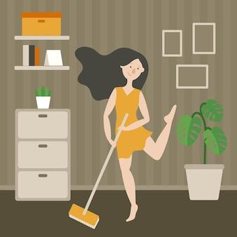 Casalinga felice con un mop che canta per terra. interno del soggiorno. monstera, comò, cornice. una ragazza dai capelli scuri con un vestito giallo che balla. vettore piatto