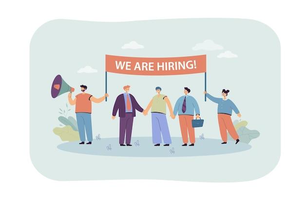 Manager delle risorse umane felici in cerca di nuovi dipendenti. illustrazione piatta