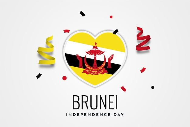 Felice giorno dell'indipendenza del brunei darussalam illustrazione modello