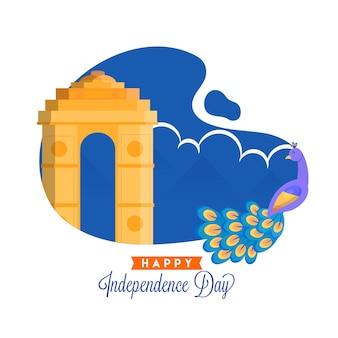 Felice giorno dell'indipendenza concetto con india gate monument, bandiera indiana, uccello pavone su sfondo blu e bianco.