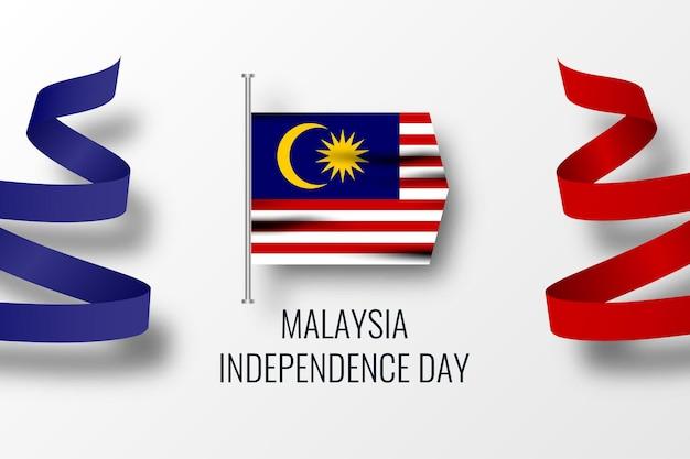 Felice design del modello di carta del giorno dell'indipendenza della malesia