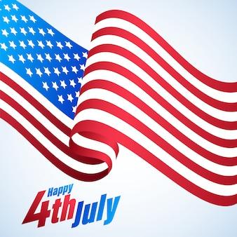 , felice giorno dell'indipendenza poster con bandiera usa wave.