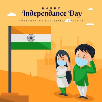 Felice giorno dell'indipendenza stai al sicuro resta in salute modello di progettazione banner