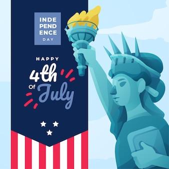 Felice festa dell'indipendenza con bandiera e statua della libertà