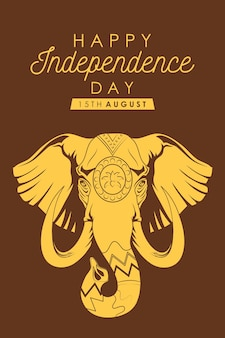 Felice giorno dell'indipendenza dell'india banner con elefante