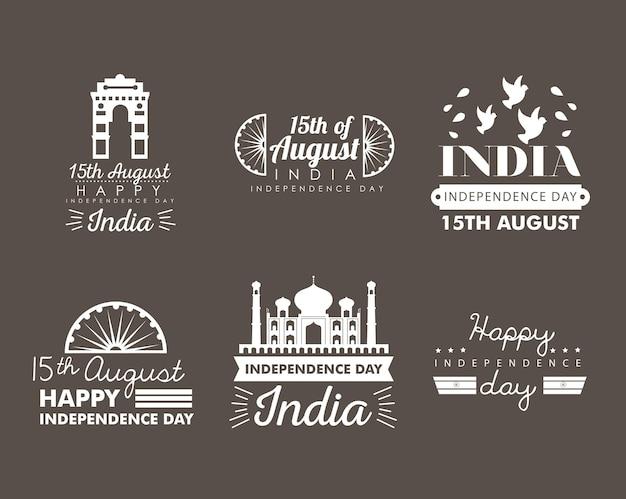 Felice festa dell'indipendenza dell'india collezione di icone di banner