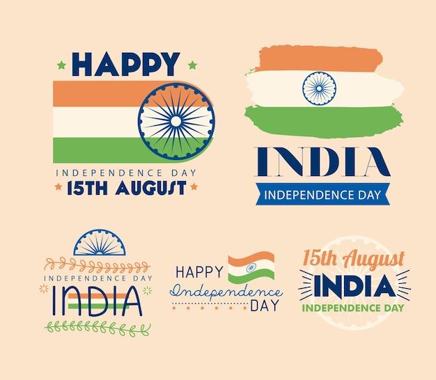 Felice giorno dell'indipendenza dell'india banner gruppo di icone