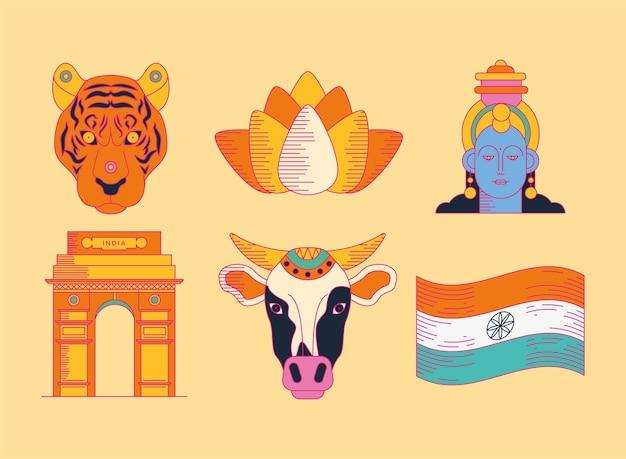 Felice collezione di icone del giorno dell'indipendenza dell'india su sfondo giallo