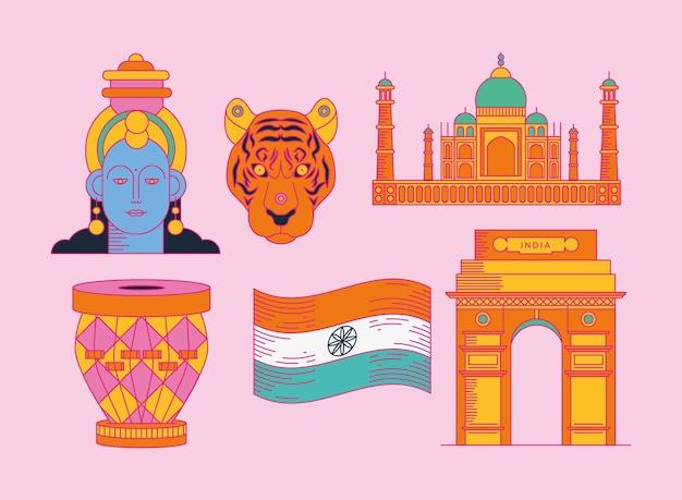 Felice giorno dell'indipendenza dell'india gruppo di icone su sfondo viola purple