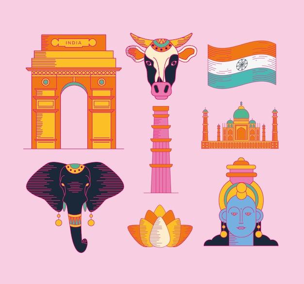 Felice gruppo di simboli del giorno dell'indipendenza dell'india su sfondo viola