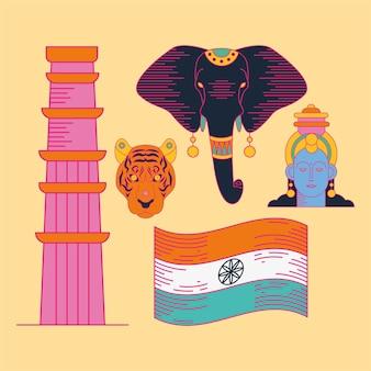 Simbolo felice del giorno dell'indipendenza dell'india impostato su sfondo giallo