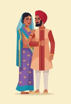 Illustrazione piana del fumetto delle coppie indiane felici