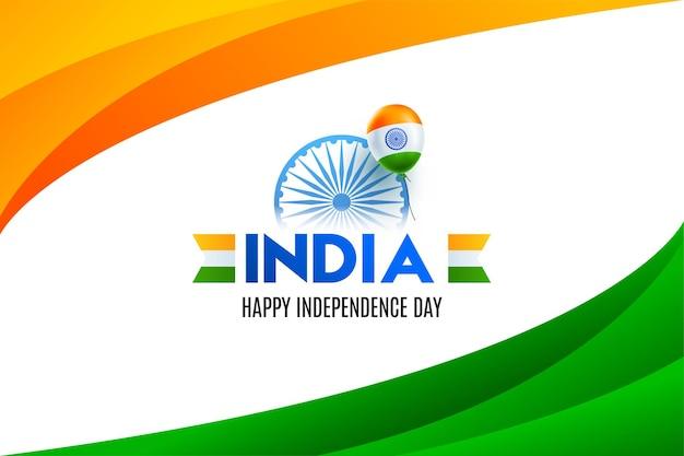 Felice festa dell'indipendenza indiana. strisce ondulate tricolore nazionale per il 15 agosto