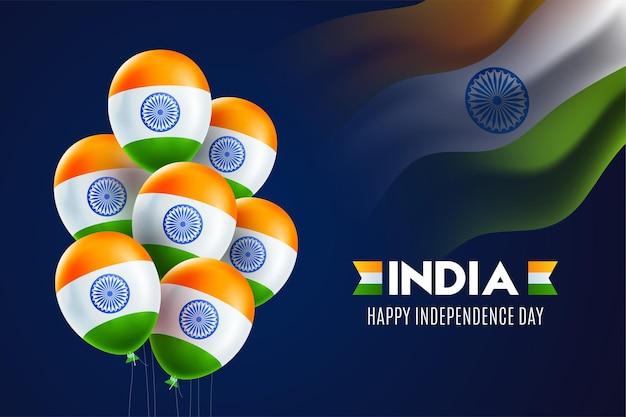 Celebrazione del giorno dell'indipendenza indiana felice. palloncini a tre colori. illustrazione.