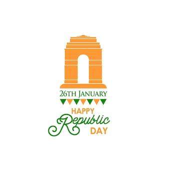 Felice giorno della repubblica indiana banner con testo 26 gennaio e indian gate