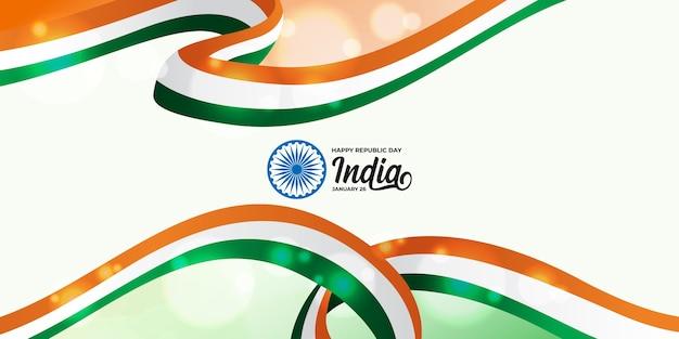 Felice giorno della repubblica indiana con bandiera tricolore indiana