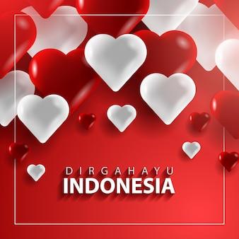 Felice modello di banner per il giorno dell'indipendenza dell'indonesia con forma di amore 3d