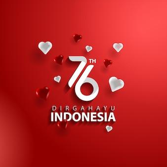 Felice giorno dell'indipendenza dell'indonesia con 76 numeri per l'età dell'indipendenza con forma d'amore e colore rosso e bianco