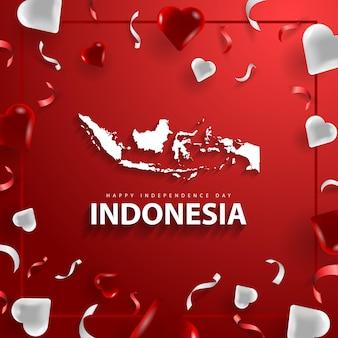 Felice festa dell'indipendenza dell'indonesia con mappa e forma d'amore in colore rosso