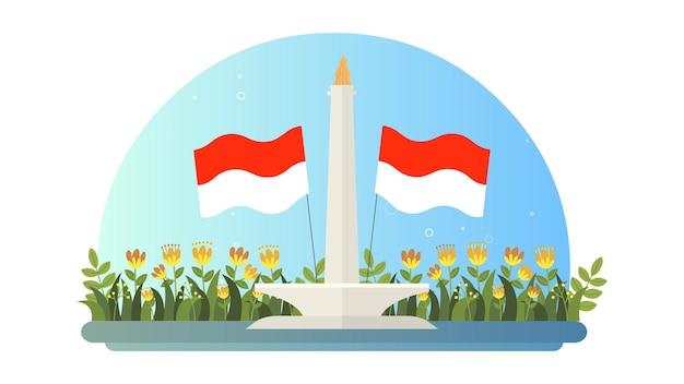 Felice giorno dell'indipendenza indonesiana illustrazione dello sfondo