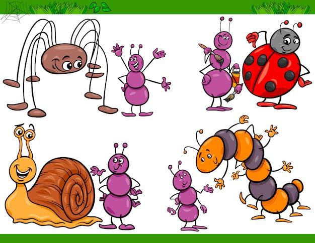 Gli insetti felici hanno messo l'illustrazione del fumetto